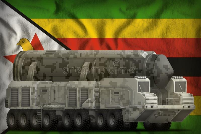 有城市伪装的洲际弹道导弹在津巴布韦国旗背景 3d例证 皇族释放例证