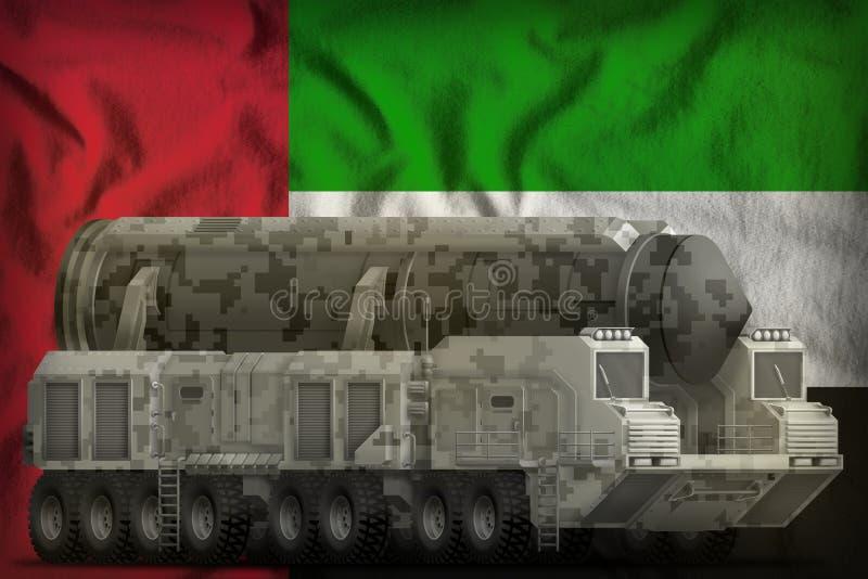 有城市伪装的洲际弹道导弹在阿拉伯联合酋长国国旗背景 3d例证 皇族释放例证