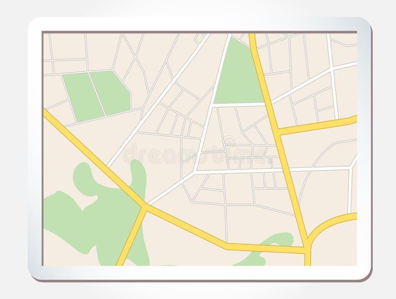 有城市地图的片剂屏幕 皇族释放例证