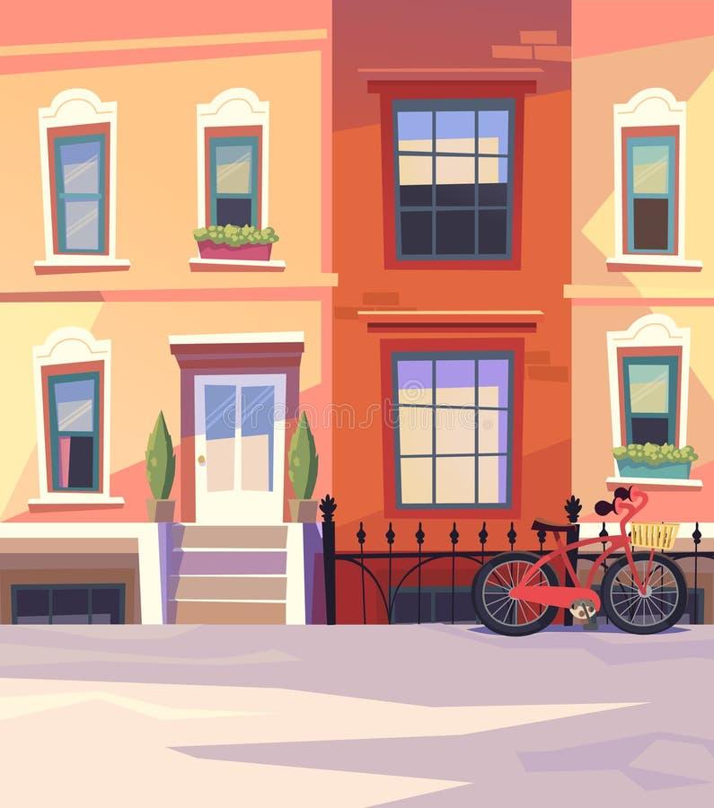 有城市自行车的晴朗的城市街道 也corel凹道例证向量 库存例证