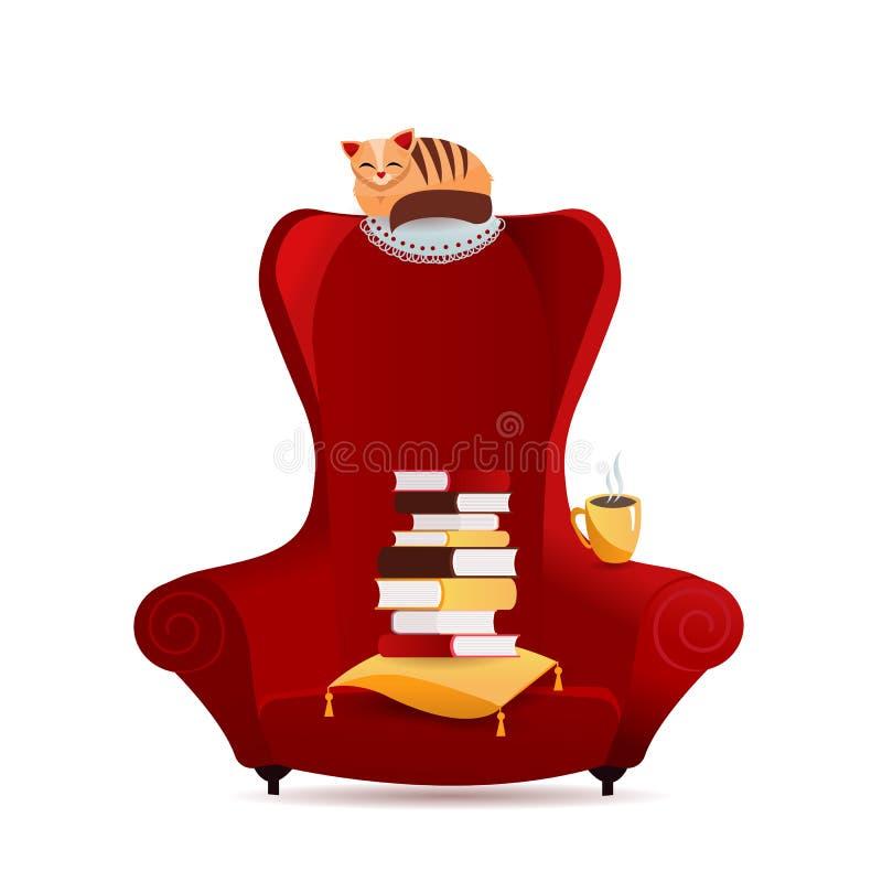 有堆的书,猫字符说谎在后面架靠背椅子的,茶mag舒适葡萄酒扶手椅子 家庭书库的内部元素 向量例证