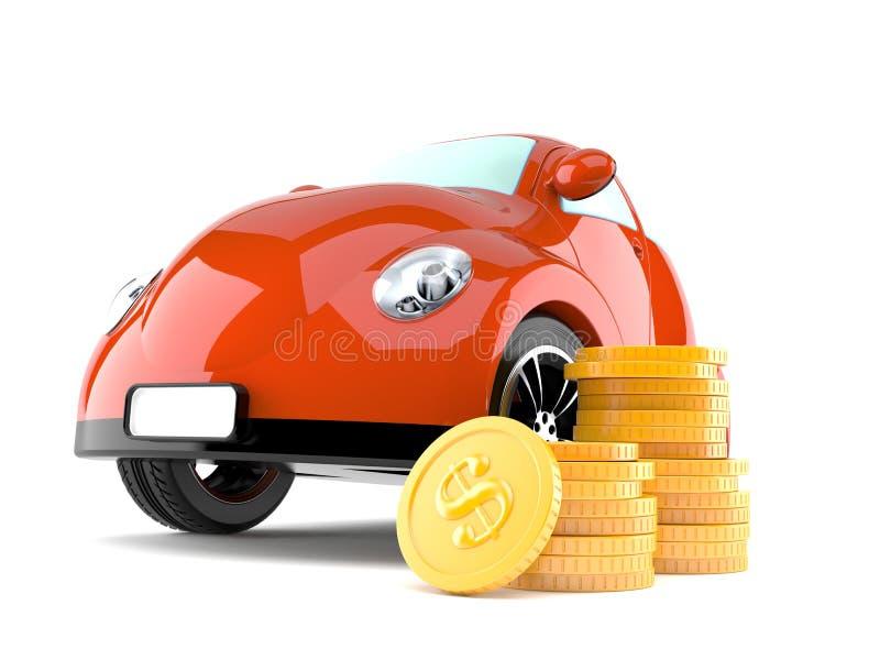 有堆的汽车硬币 向量例证