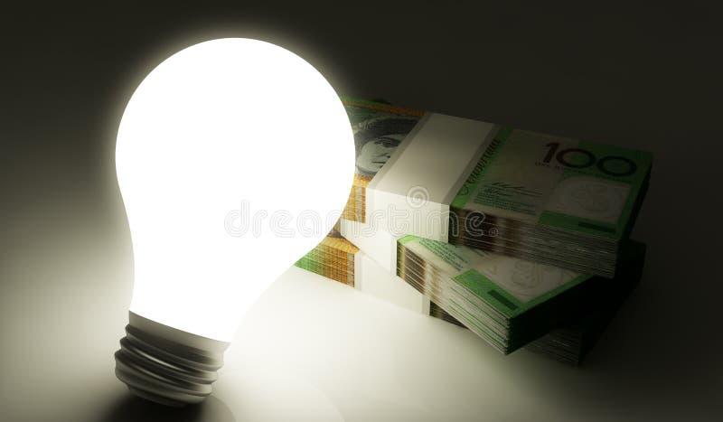有堆的电灯泡金钱 皇族释放例证