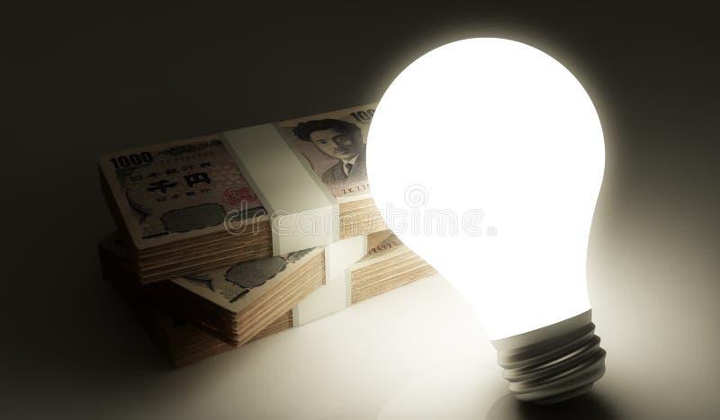 有堆的电灯泡金钱 库存例证