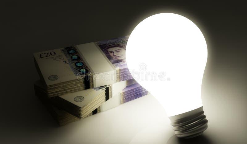 有堆的电灯泡金钱 向量例证