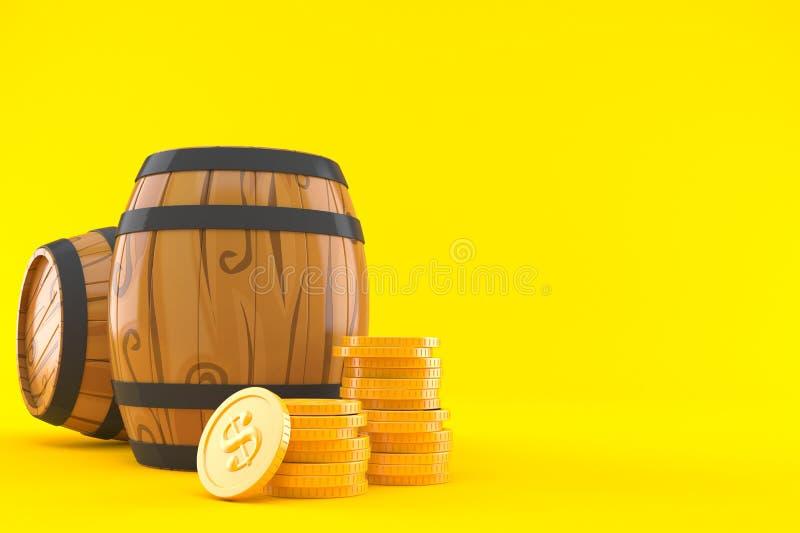 有堆的酒桶硬币 向量例证