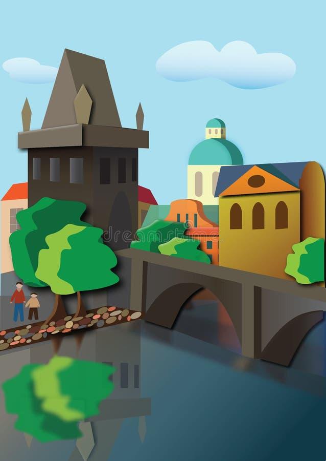 有塔和桥梁的城市 库存例证