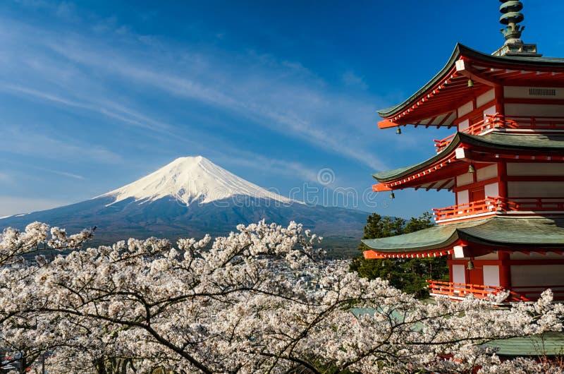 有塔和樱桃树的,日本富士山 免版税库存照片