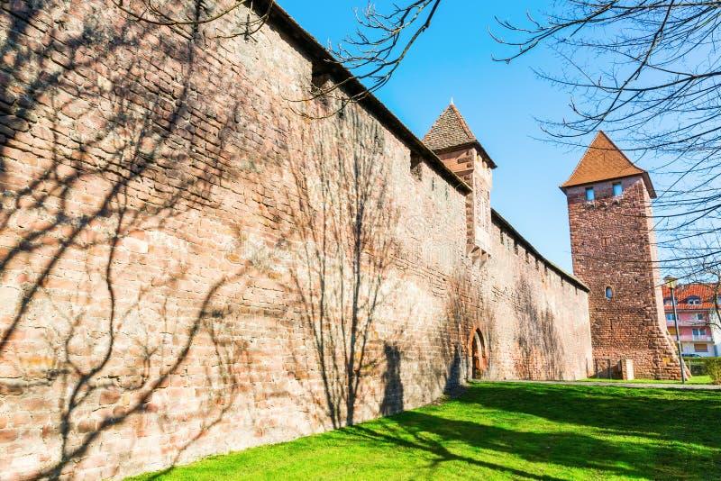 有塔的中世纪罗马城市墙壁在蠕虫,德国 图库摄影