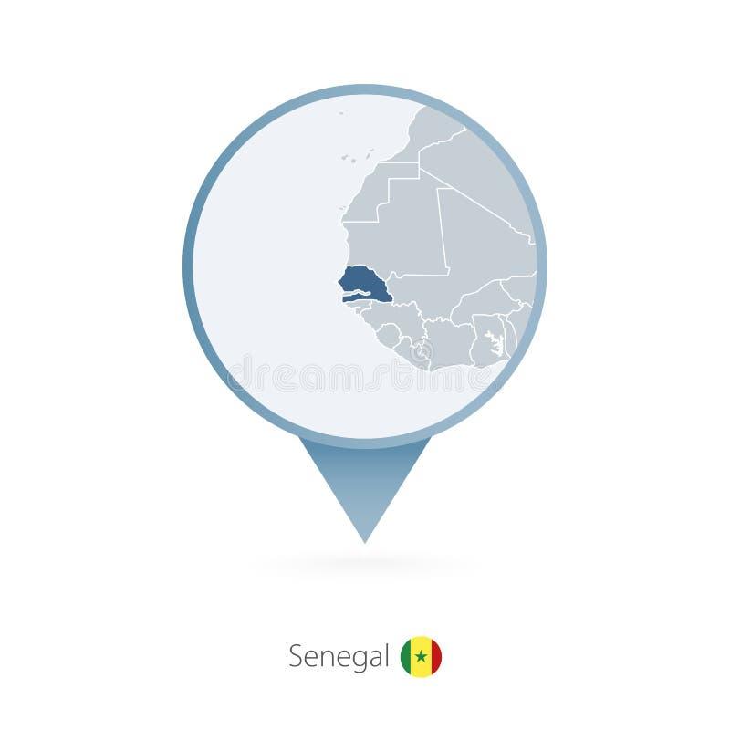 有塞内加尔和邻国详细的地图的地图别针  向量例证