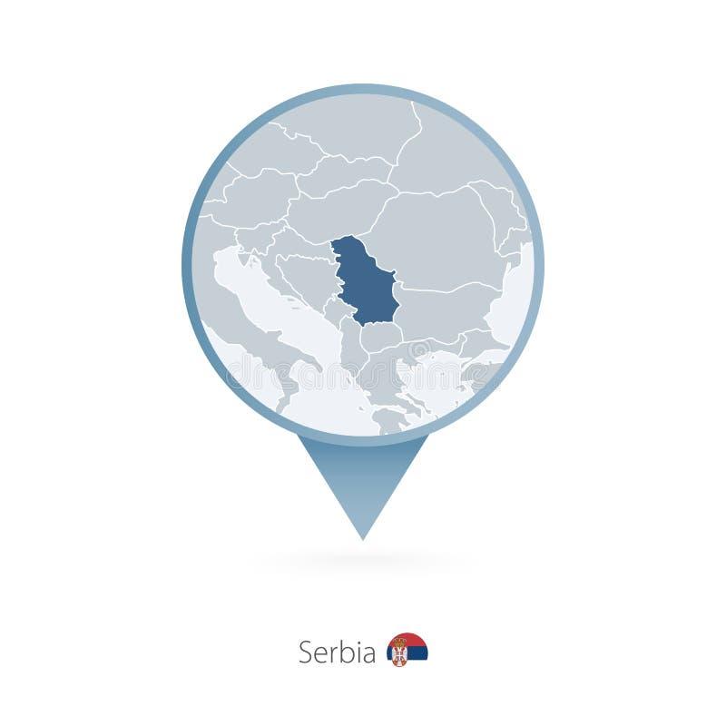 有塞尔维亚和邻国详细的地图的地图别针  向量例证