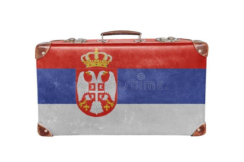有塞尔维亚旗子的葡萄酒手提箱 免版税库存照片