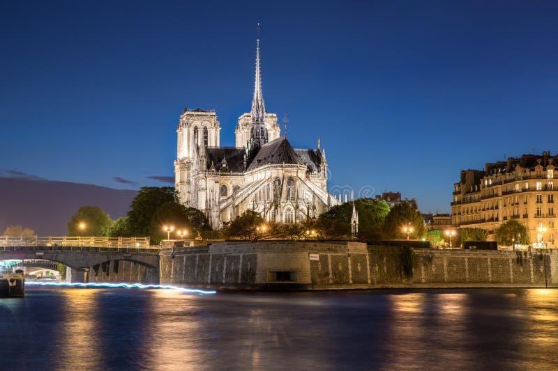 有塞纳河的巴黎圣母院大教堂在晚上在巴黎 免版税图库摄影