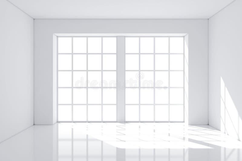 有墙壁和大窗口的白色空的室 3d翻译 向量例证