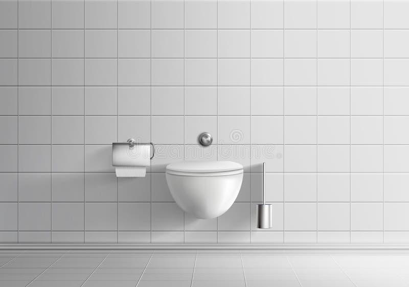 有墙壁垂悬的马桶传染媒介的洗手间室 向量例证