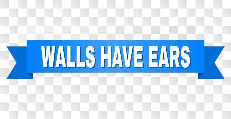 有墙壁的蓝色磁带有耳朵说明 库存例证
