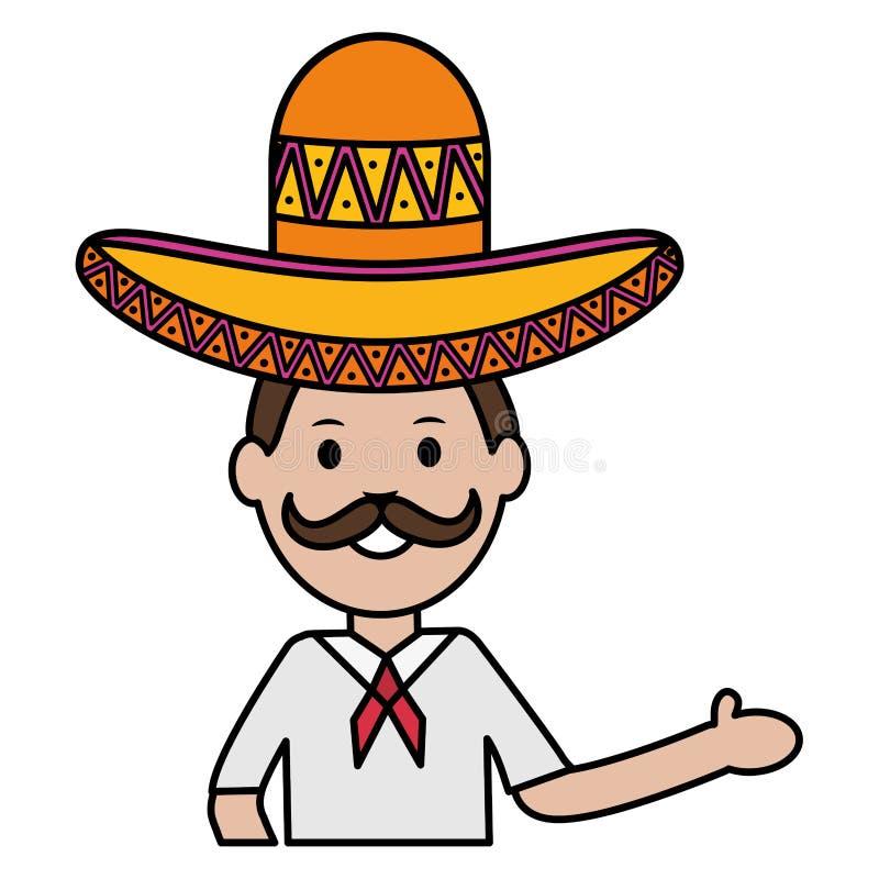 有墨西哥流浪乐队帽子的墨西哥人 向量例证