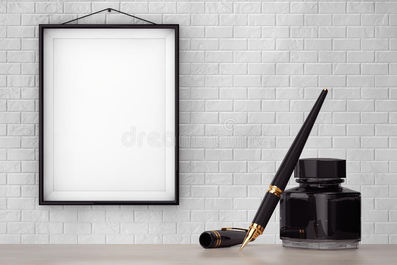 有墨水壶的钢笔在有空白的F的砖墙前面 免版税库存图片