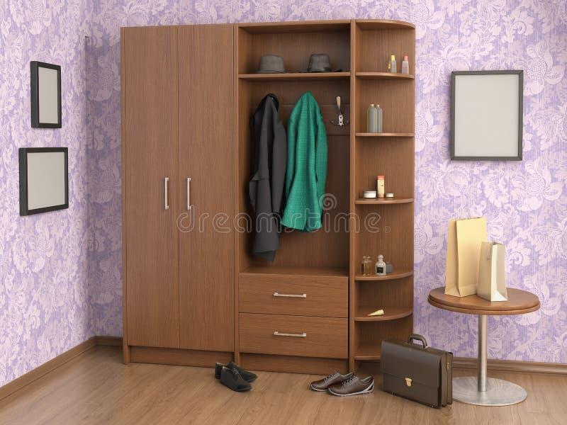 有壁橱、衣裳、袋子、箱子和鞋子的室, 向量例证