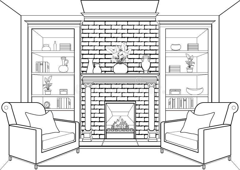 有壁炉概述的,平展内部,等高线性图画,着色,黑白传染媒介例证室 客厅,加州 库存例证