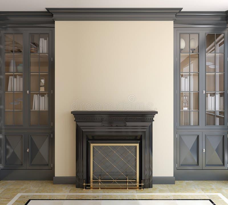 有壁炉的现代客厅。 库存例证