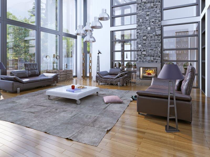 有壁炉的高天花板客厅 免版税库存照片