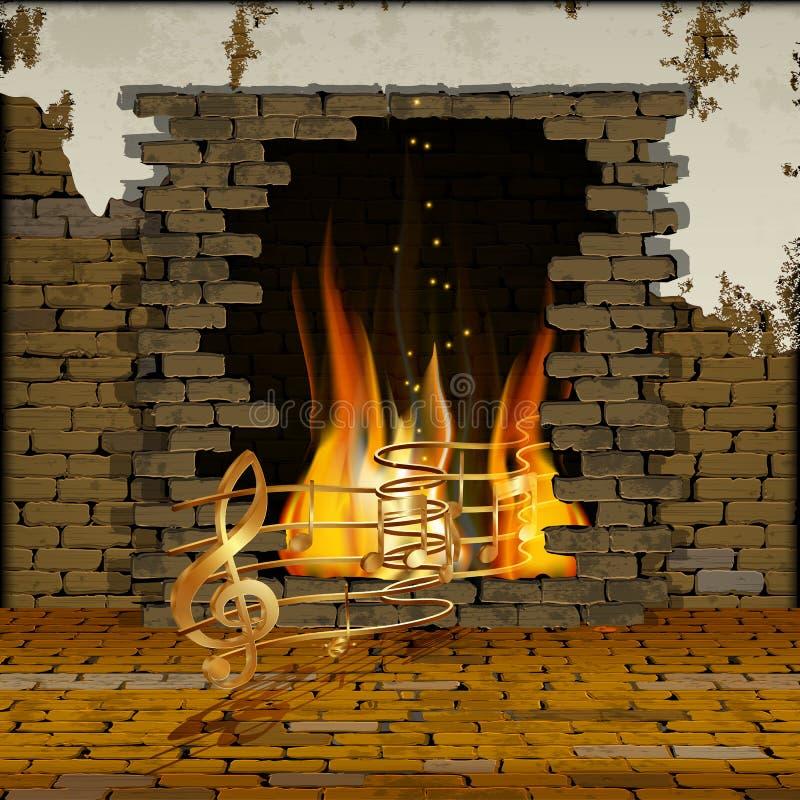 有壁炉音符的砖墙 库存例证