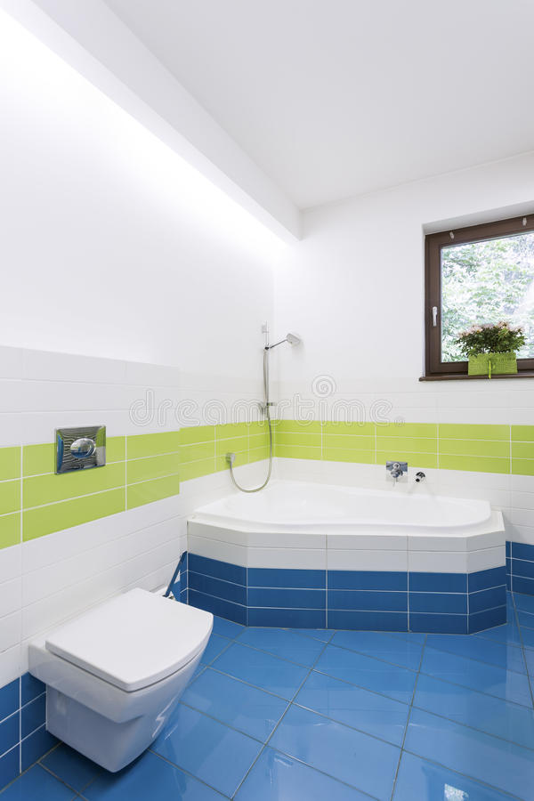 有壁角浴缸的现代卫生间 库存照片