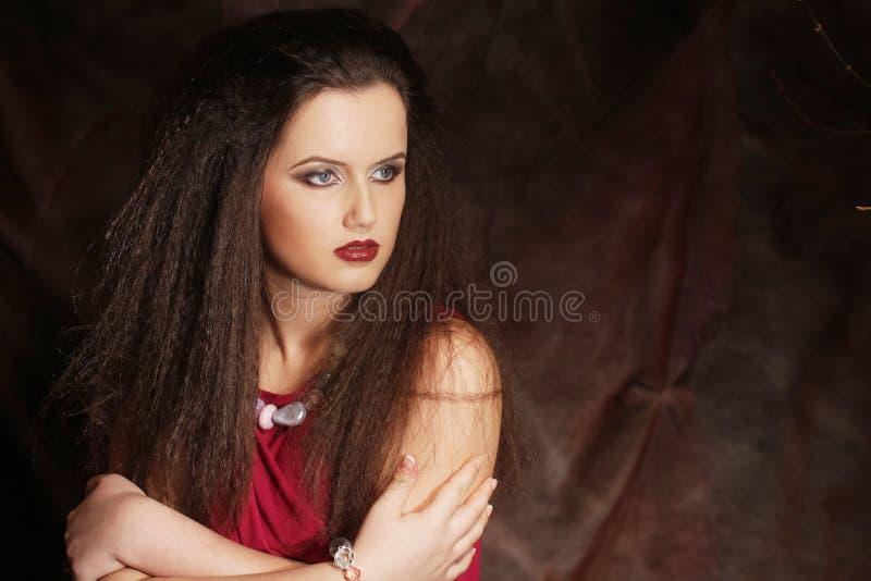 有壮观的黑发的年轻美丽的夫人 免版税库存图片