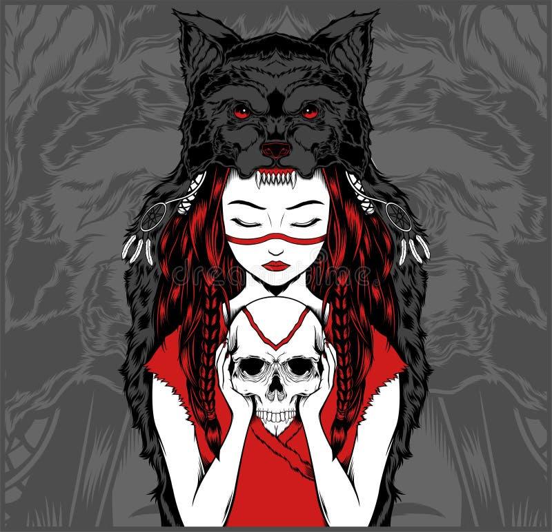 有处理头骨-传染媒介的狼头饰的美国本地人女孩 向量例证