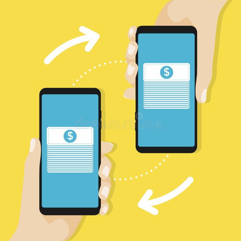 有处理的智能手机从信用卡的流动付款在屏幕上 银行信用卡概念赊帐地球互联网映射付款世界 向量例证