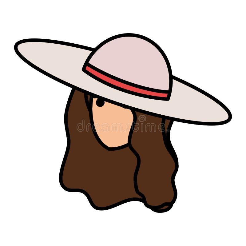 有夏天帽子顶头字符的旅游女孩 向量例证