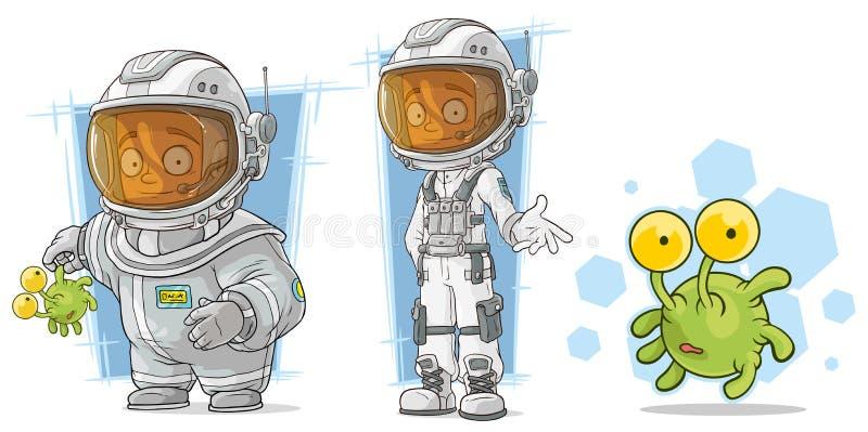 有外籍人字符传染媒介集合的动画片太空人 向量例证