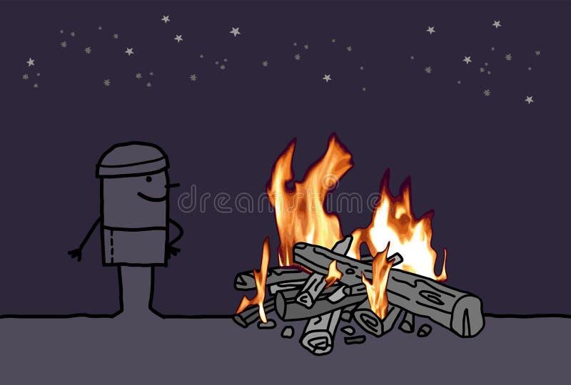 有外面灼烧的火的动画片人 向量例证