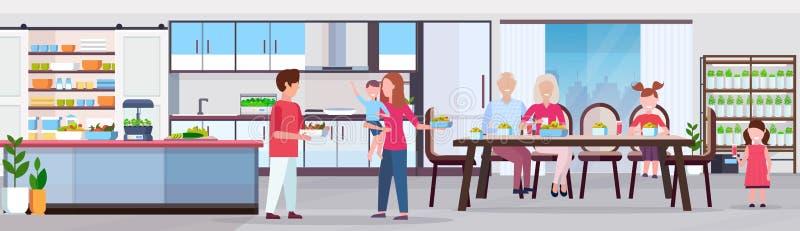 有多一代的家庭设置饭桌现代厨房内部聪明的植物的早餐人生长系统 皇族释放例证