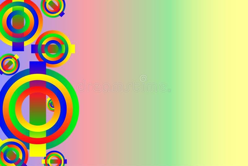 有多彩多姿的圈子的抽象背景盖子在彩虹梯度背景 库存例证