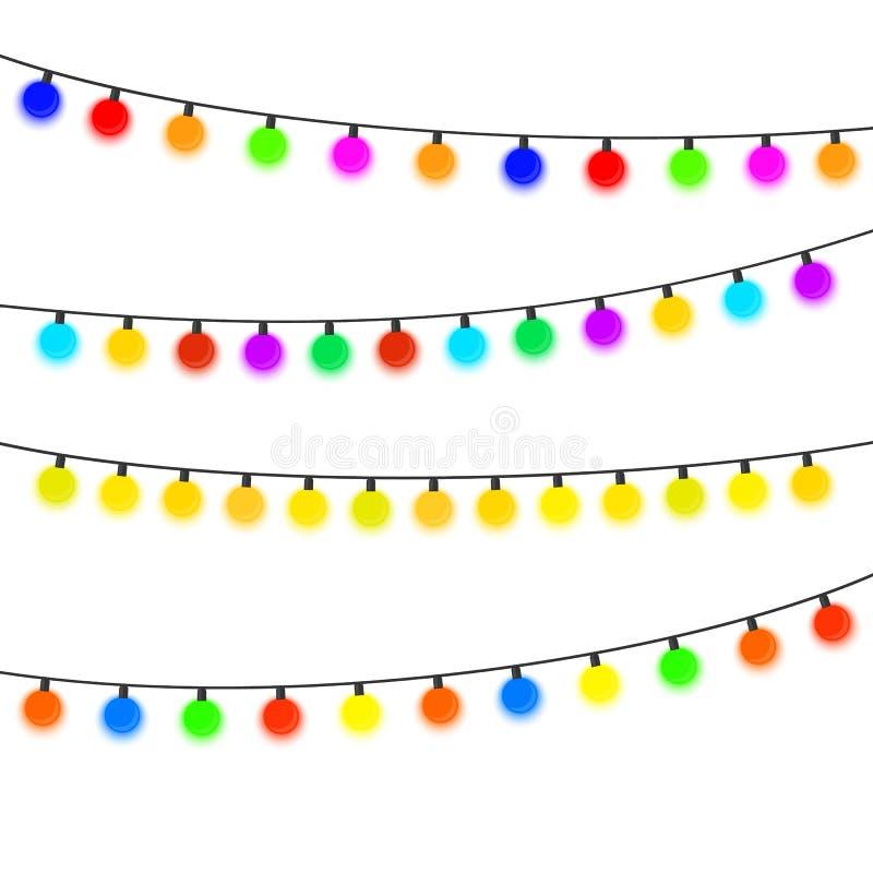 有多彩多姿的电灯泡的四本诗歌选在白色背景 向量例证