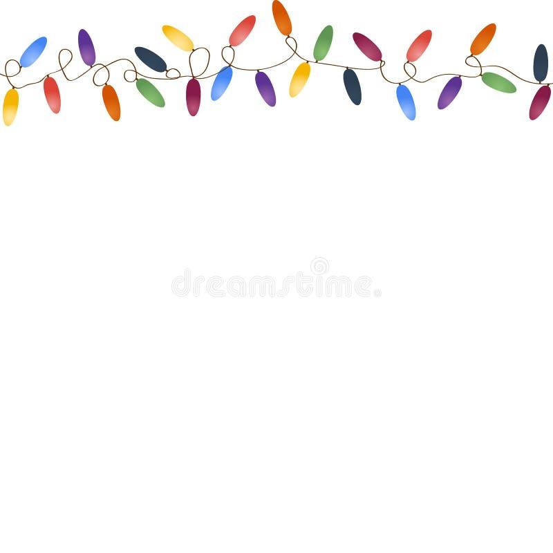 有多彩多姿的电灯泡的圣诞节诗歌选 向量例证