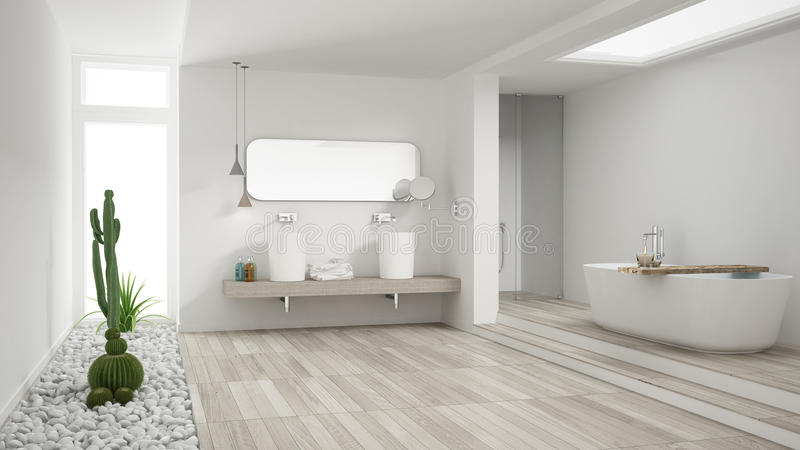 有多汁庭院的,木的地板最低纲领派白色卫生间 免版税库存图片