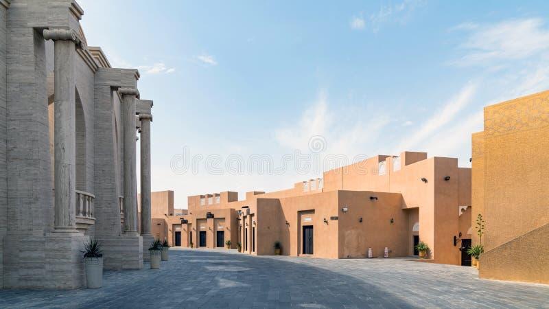 有多目的大厅圆形剧场的,多哈,卡塔尔卡塔拉文化村庄 免版税库存照片