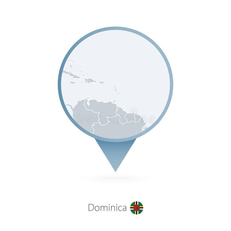 有多米尼加和邻国详细的地图的地图别针  向量例证