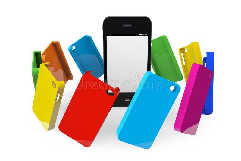 有多色塑料盒的手机 皇族释放例证