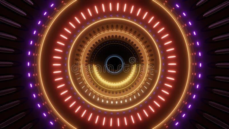 有多颜色光的抽象转动的隧道 皇族释放例证