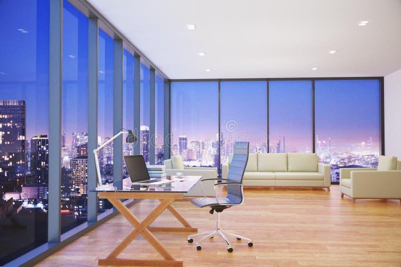 有夜城市视图边的现代办公室 皇族释放例证