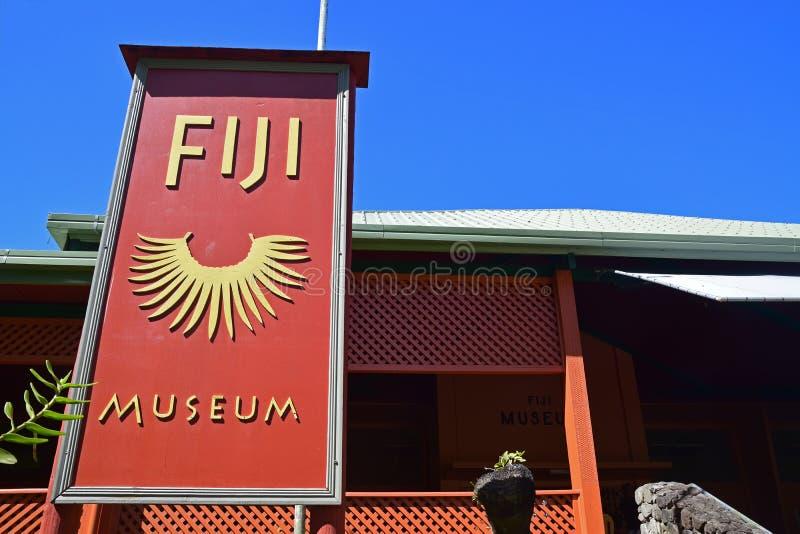 有大入口标志的斐济博物馆在苏瓦 库存图片