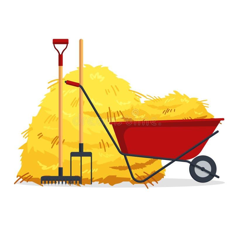 有大包的红色平的从事园艺的独轮车干草,干草叉,在白色背景隔绝的犁耙 平的干干草堆 向量例证