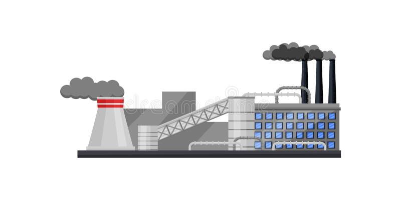 有大厦、抽烟的烟囱和冷却塔的大工厂 中央系统暖气工厂次幂上升暖流 平的传染媒介设计 库存例证