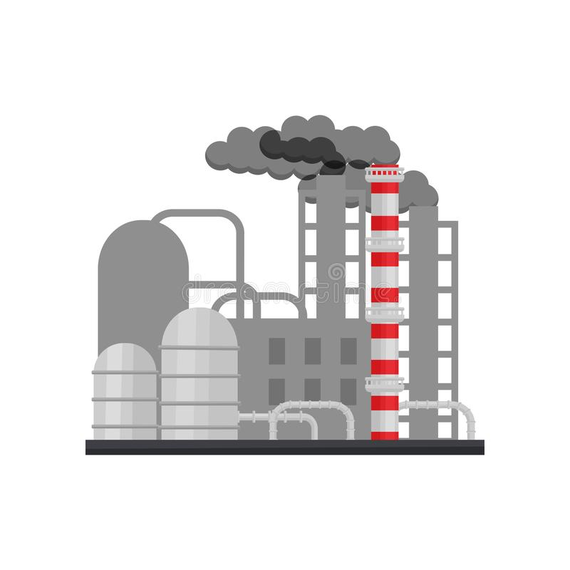 有大厦、烟斗和钢储水池的制造的工厂 行业结构 平的传染媒介设计 皇族释放例证