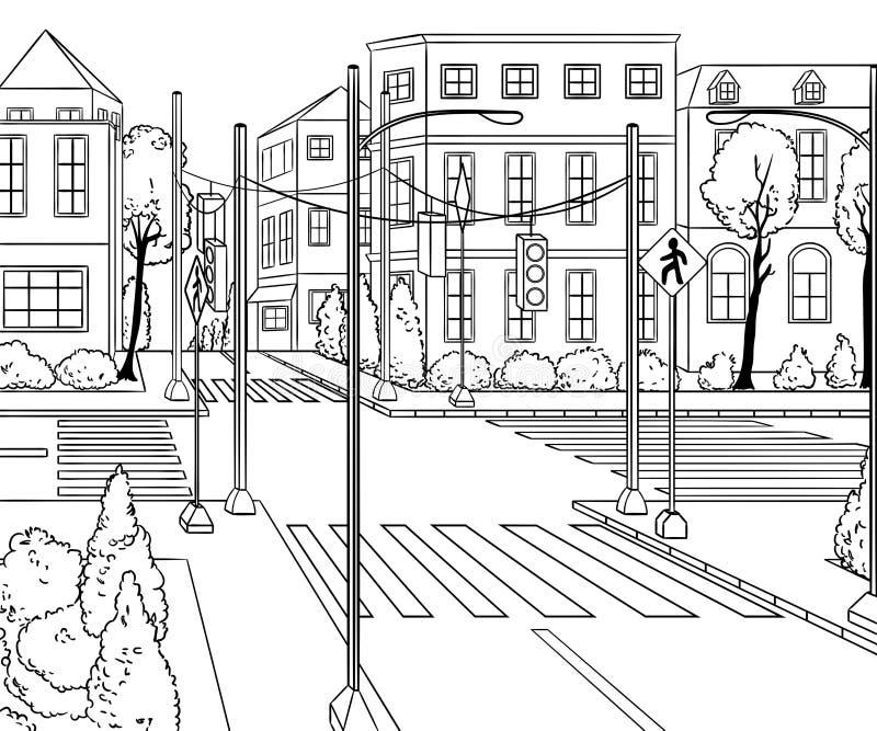 有大厦、红绿灯、行人穿越道和交通标志的城市街道 向量例证