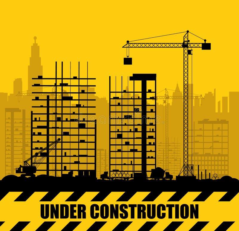 有大厦和起重机的建造场所 向量例证